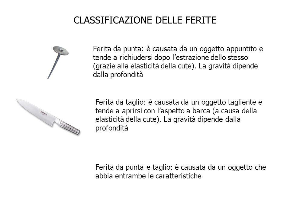 CLASSIFICAZIONE DELLE FERITE Ferita da punta: è causata da un oggetto appuntito e tende a richiudersi dopo lestrazione dello stesso (grazie alla elast