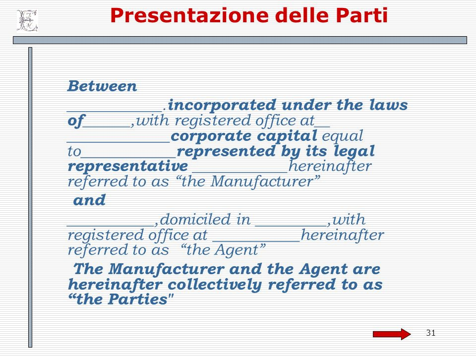 31 Presentazione delle Parti Between ____________. incorporated under the laws of ______,with registered office at__ _____________ corporate capital e