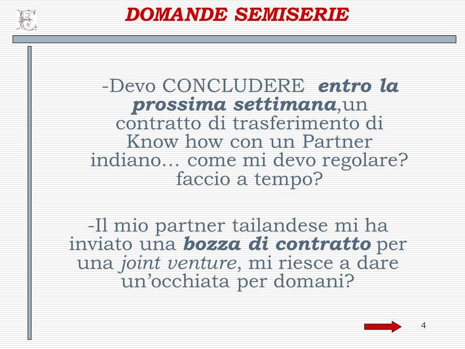 105 Regolazione dei reciproci rapporti Elemento caratterizzante di un accordo di joint venture: la regolazione dei reciproci rapporti tra le parti contraenti.