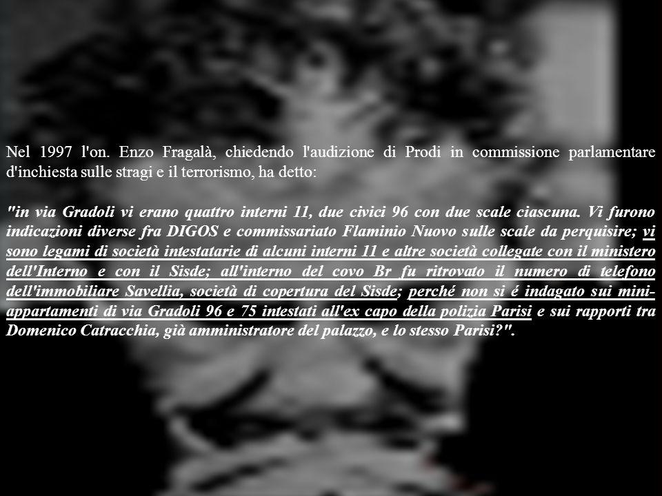 Nel 1997 l'on. Enzo Fragalà, chiedendo l'audizione di Prodi in commissione parlamentare d'inchiesta sulle stragi e il terrorismo, ha detto: