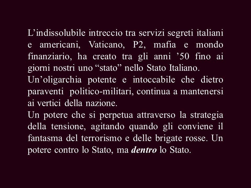 Lindissolubile intreccio tra servizi segreti italiani e americani, Vaticano, P2, mafia e mondo finanziario, ha creato tra gli anni 50 fino ai giorni nostri uno stato nello Stato Italiano.