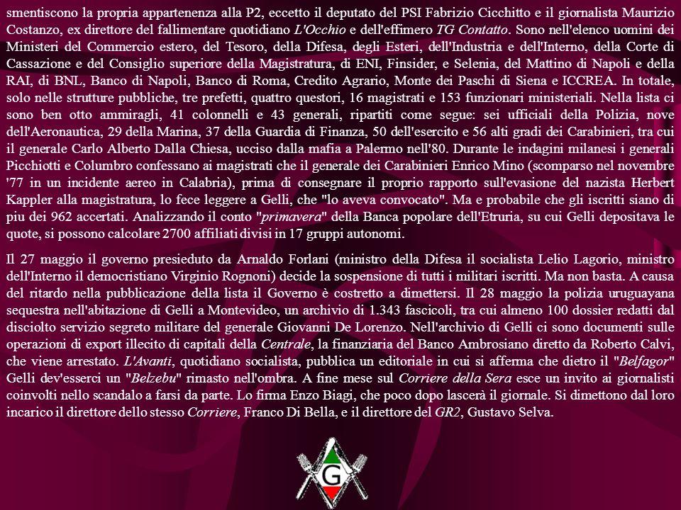 smentiscono la propria appartenenza alla P2, eccetto il deputato del PSI Fabrizio Cicchitto e il giornalista Maurizio Costanzo, ex direttore del fallimentare quotidiano L Occhio e dell effimero TG Contatto.