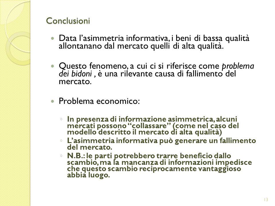 Conclusioni Data lasimmetria informativa, i beni di bassa qualità allontanano dal mercato quelli di alta qualità.