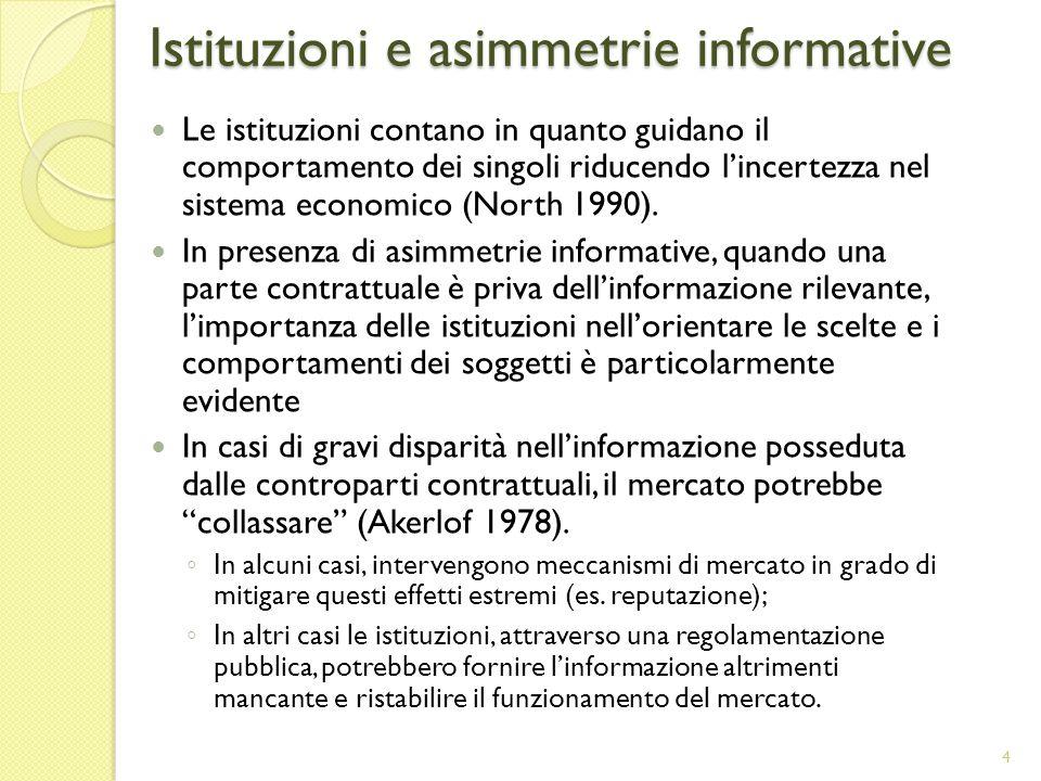 Istituzioni e asimmetrie informative Le istituzioni contano in quanto guidano il comportamento dei singoli riducendo lincertezza nel sistema economico (North 1990).