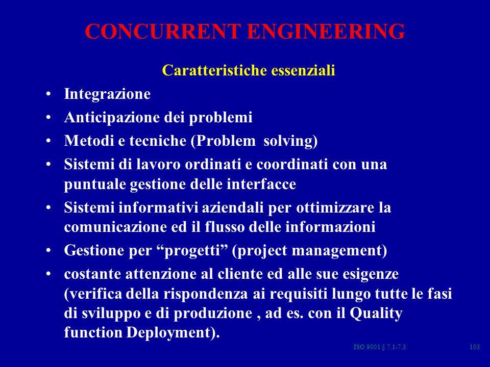 ISO 9001 § 7.1-7.3103 Caratteristiche essenziali Integrazione Anticipazione dei problemi Metodi e tecniche (Problem solving) Sistemi di lavoro ordinati e coordinati con una puntuale gestione delle interfacce Sistemi informativi aziendali per ottimizzare la comunicazione ed il flusso delle informazioni Gestione per progetti (project management) costante attenzione al cliente ed alle sue esigenze (verifica della rispondenza ai requisiti lungo tutte le fasi di sviluppo e di produzione, ad es.