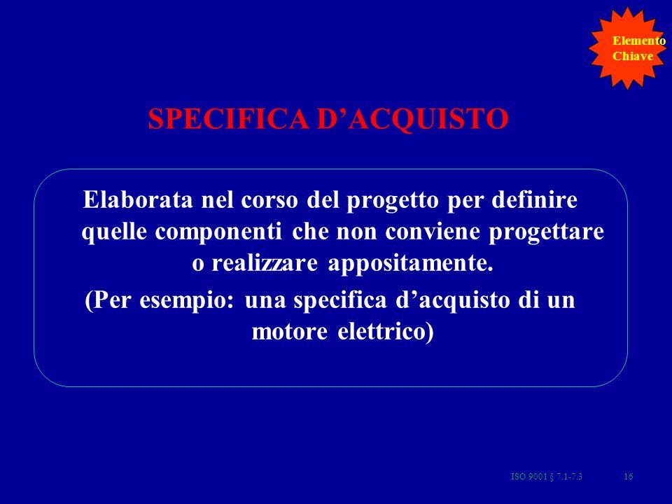 ISO 9001 § 7.1-7.316 SPECIFICA DACQUISTO Elaborata nel corso del progetto per definire quelle componenti che non conviene progettare o realizzare appositamente.