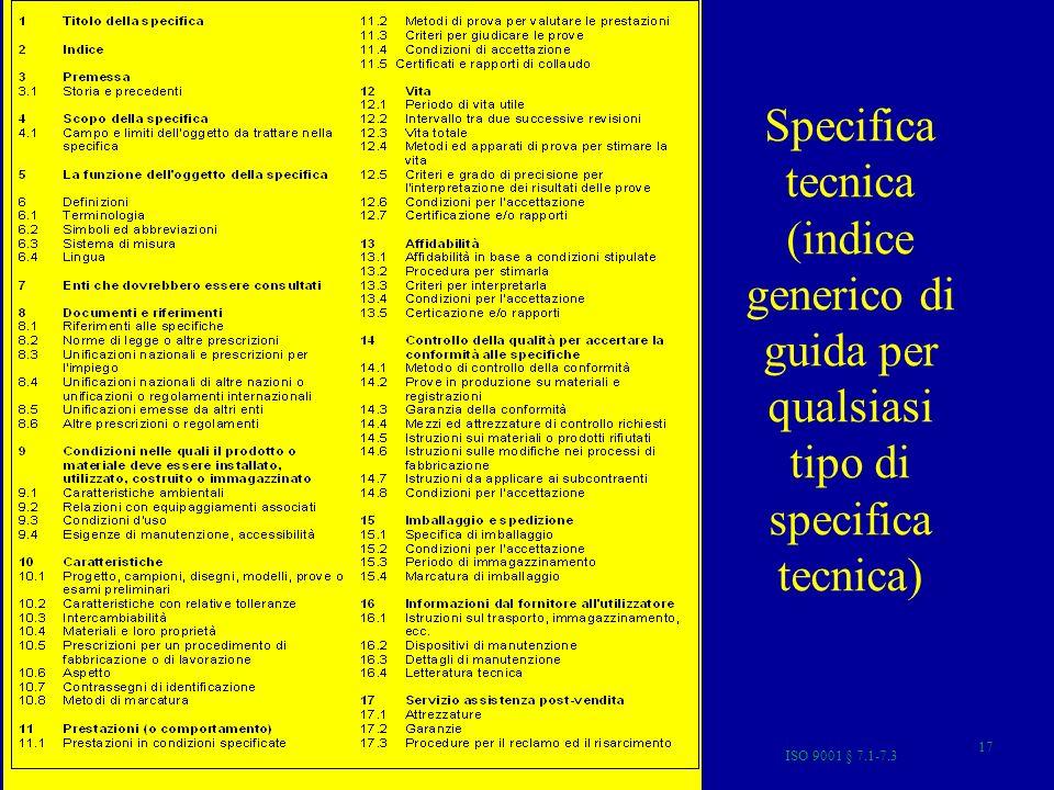 ISO 9001 § 7.1-7.3 17 Specifica tecnica (indice generico di guida per qualsiasi tipo di specifica tecnica)