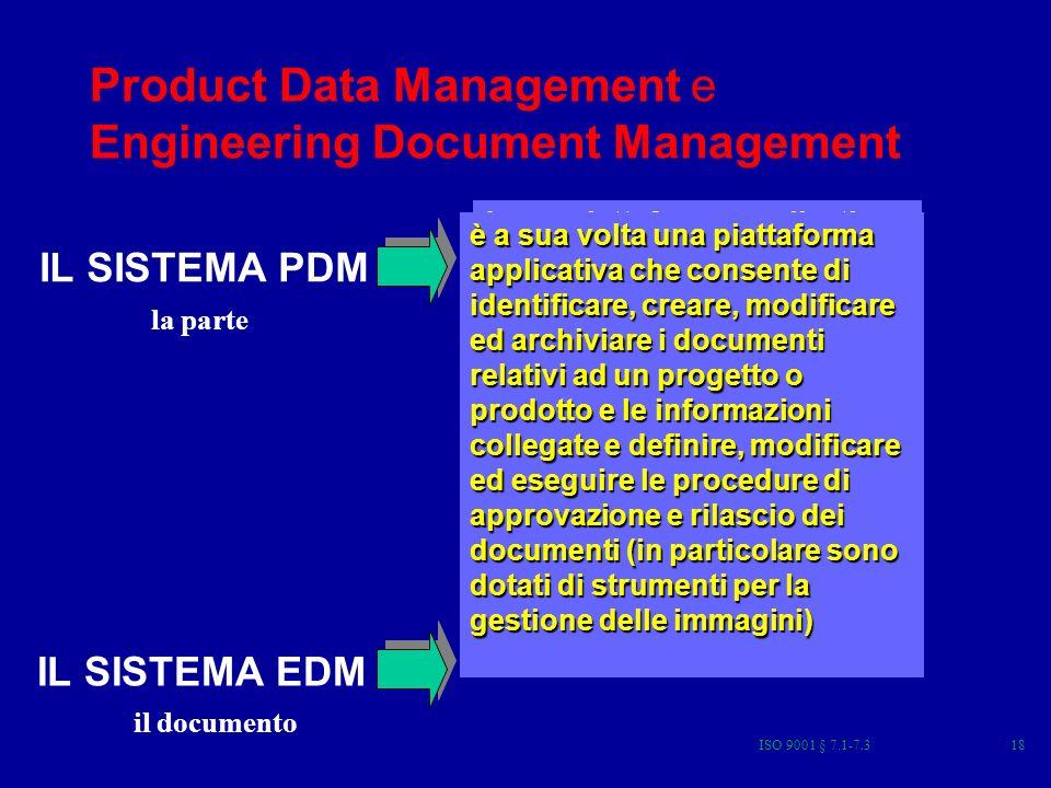 ISO 9001 § 7.1-7.318 Product Data Management e Engineering Document Management è una piattaforma applicativa, che consente di identificare, creare e modificare i dati di prodotto e le informazioni ad essi collegate (come documenti, parti, modifiche, distinte basi, ecc) e di definire, modificare ed eseguire i processi di emissione dei dati creati durante lo sviluppo di un prodotto, progetto o laggiornamento di un prodotto esistente.