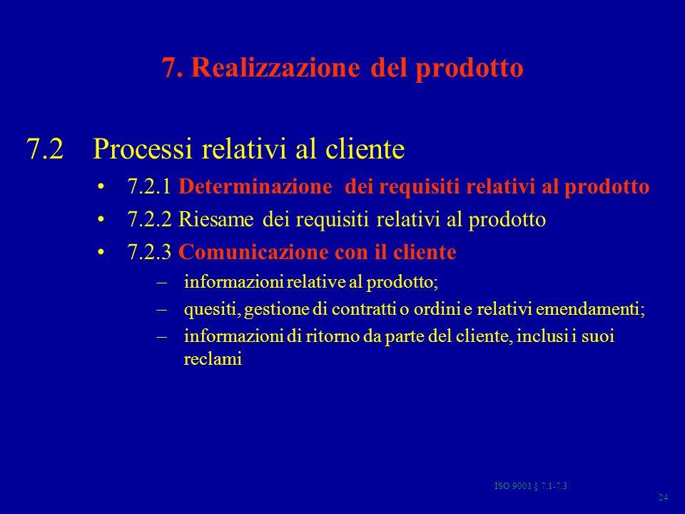 ISO 9001 § 7.1-7.3 24 7. Realizzazione del prodotto 7.2 Processi relativi al cliente 7.2.1 Determinazione dei requisiti relativi al prodotto 7.2.2 Rie