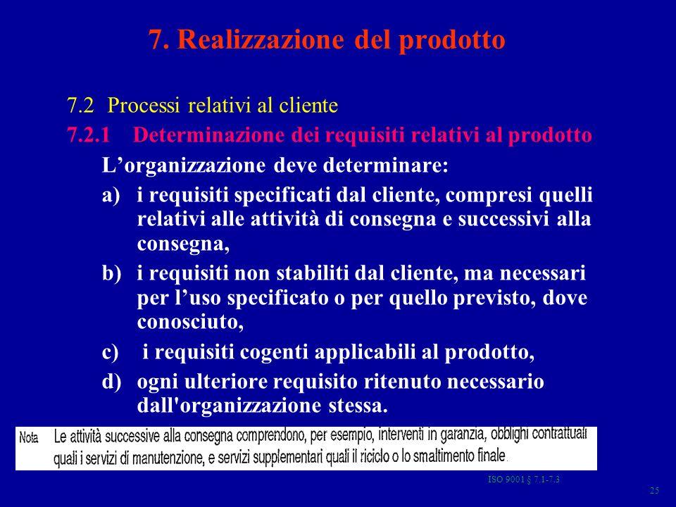 ISO 9001 § 7.1-7.3 25 7. Realizzazione del prodotto 7.2 Processi relativi al cliente 7.2.1 Determinazione dei requisiti relativi al prodotto Lorganizz
