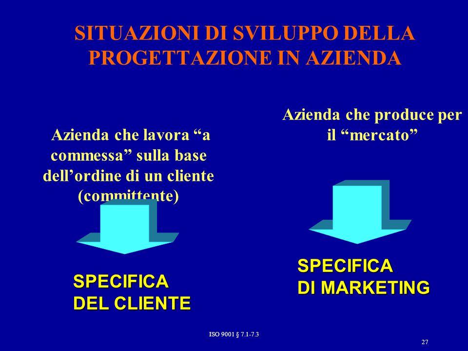 SITUAZIONI DI SVILUPPO DELLA PROGETTAZIONE IN AZIENDA Azienda che lavora a commessa sulla base dellordine di un cliente (committente) Azienda che produce per il mercato SPECIFICA DEL CLIENTE SPECIFICA DI MARKETING 27 ISO 9001 § 7.1-7.3