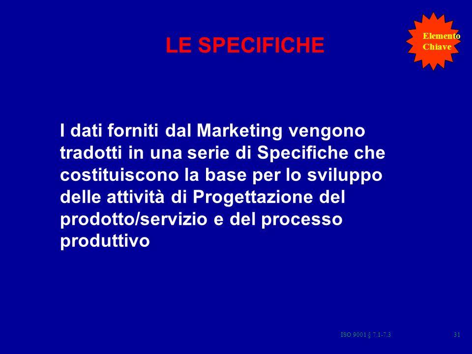 ISO 9001 § 7.1-7.331 I dati forniti dal Marketing vengono tradotti in una serie di Specifiche che costituiscono la base per lo sviluppo delle attività di Progettazione del prodotto/servizio e del processo produttivo LE SPECIFICHE Elemento Chiave
