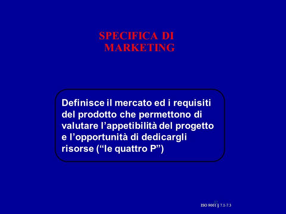 ISO 9001 § 7.1-7.3 32 SPECIFICA DI MARKETING Definisce il mercato ed i requisiti del prodotto che permettono di valutare lappetibilità del progetto e lopportunità di dedicargli risorse (le quattro P)