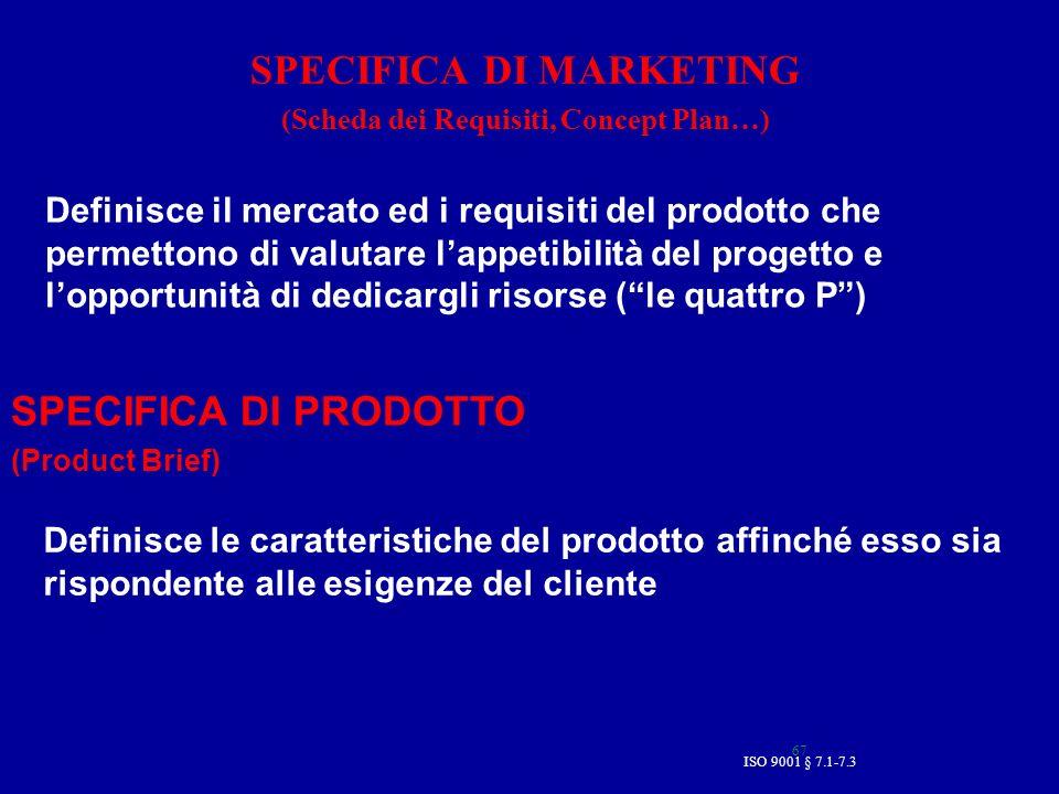 67 SPECIFICA DI MARKETING (Scheda dei Requisiti, Concept Plan…) SPECIFICA DI PRODOTTO (Product Brief) Definisce le caratteristiche del prodotto affinc