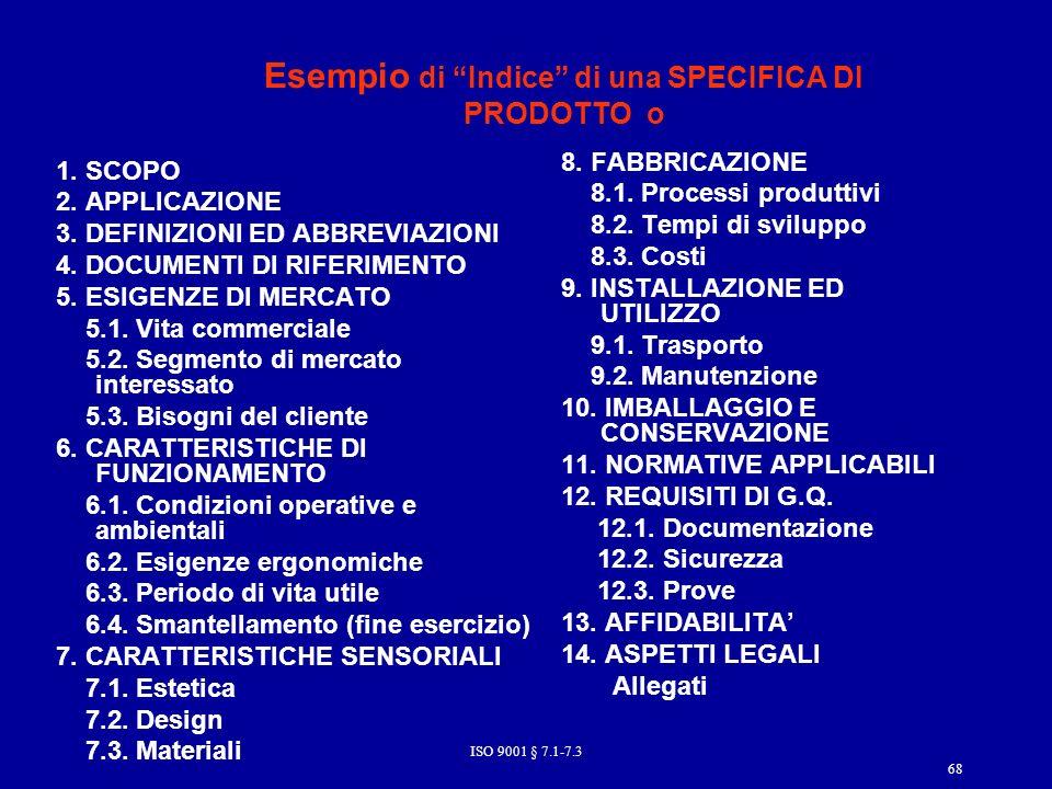 Esempio di Indice di una SPECIFICA DI PRODOTTO o 1.