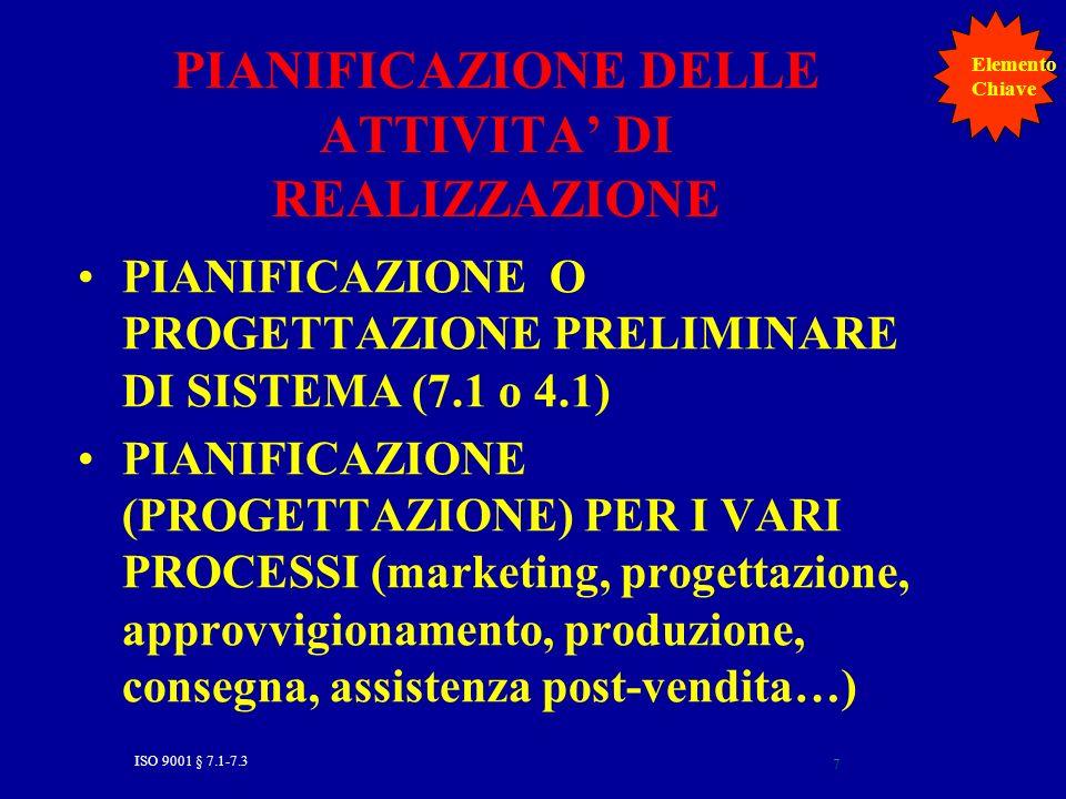 ISO 9001 § 7.1-7.3 7 PIANIFICAZIONE DELLE ATTIVITA DI REALIZZAZIONE PIANIFICAZIONE O PROGETTAZIONE PRELIMINARE DI SISTEMA (7.1 o 4.1) PIANIFICAZIONE (PROGETTAZIONE) PER I VARI PROCESSI (marketing, progettazione, approvvigionamento, produzione, consegna, assistenza post-vendita…) Elemento Chiave
