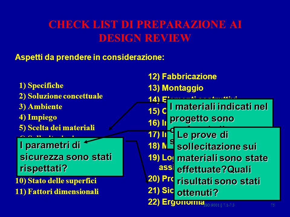 CHECK LIST DI PREPARAZIONE AI DESIGN REVIEW 1) Specifiche 2) Soluzione concettuale 3) Ambiente 4) Impiego 5) Scelta dei materiali 6) Sollecitazioni 7)