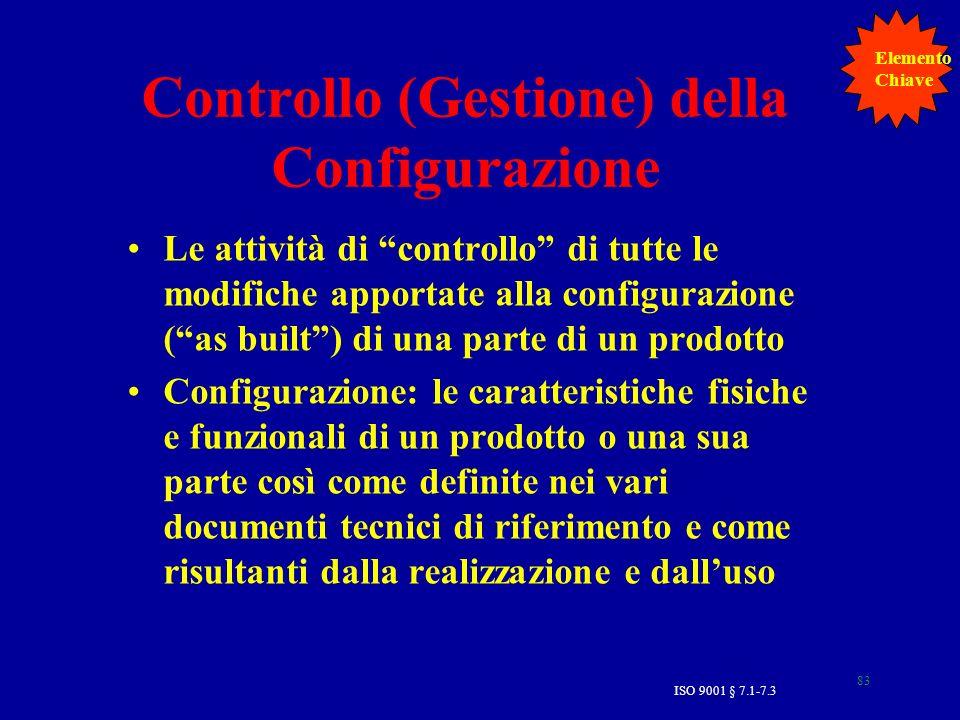 83 Controllo (Gestione) della Configurazione Le attività di controllo di tutte le modifiche apportate alla configurazione (as built) di una parte di u