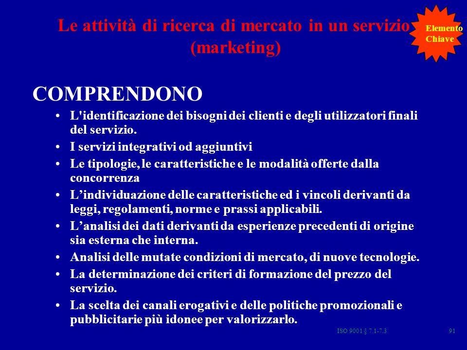 ISO 9001 § 7.1-7.391 Le attività di ricerca di mercato in un servizio (marketing) COMPRENDONO L'identificazione dei bisogni dei clienti e degli utiliz