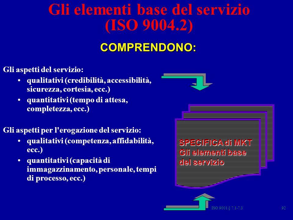ISO 9001 § 7.1-7.392 Gli elementi base del servizio (ISO 9004.2) Gli aspetti del servizio: qualitativi (credibilità, accessibilità, sicurezza, cortesia, ecc.) quantitativi (tempo di attesa, completezza, ecc.) Gli aspetti per l erogazione del servizio: qualitativi (competenza, affidabilità, ecc.) quantitativi (capacità di immagazzinamento, personale, tempi di processo, ecc.) COMPRENDONO: SPECIFICA di MKT Gli elementi base del servizio
