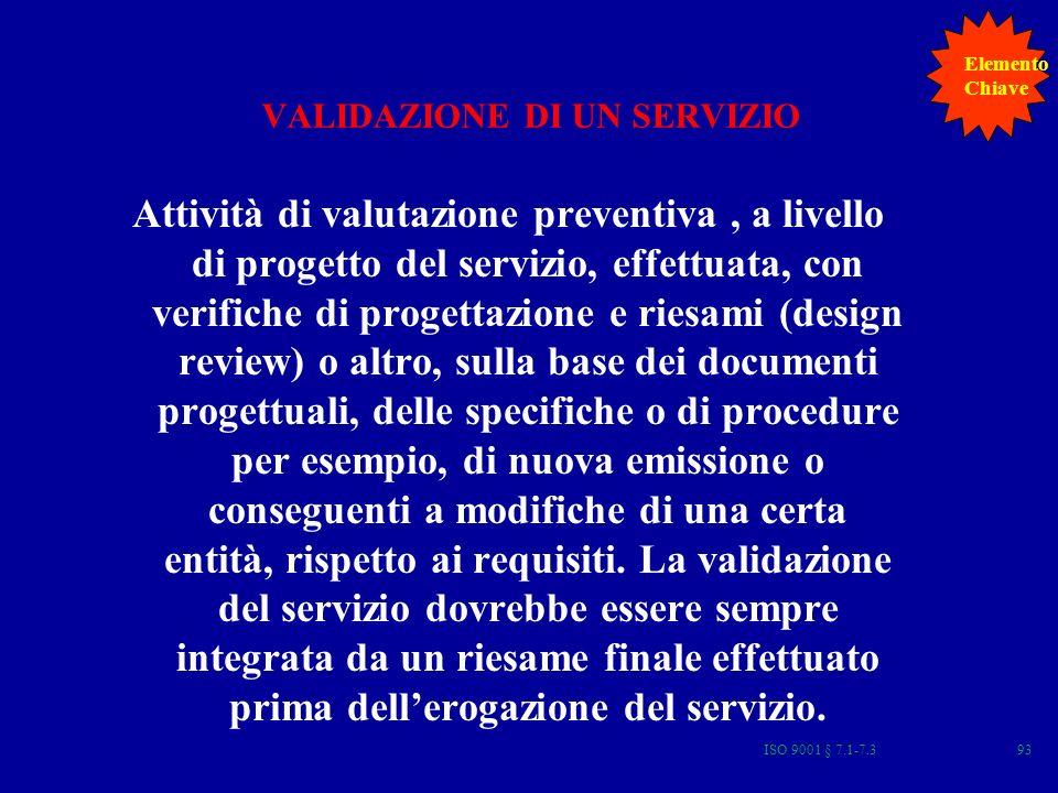 ISO 9001 § 7.1-7.393 VALIDAZIONE DI UN SERVIZIO Attività di valutazione preventiva, a livello di progetto del servizio, effettuata, con verifiche di progettazione e riesami (design review) o altro, sulla base dei documenti progettuali, delle specifiche o di procedure per esempio, di nuova emissione o conseguenti a modifiche di una certa entità, rispetto ai requisiti.