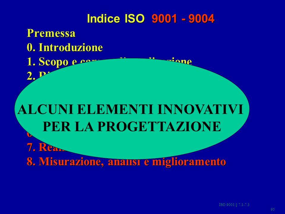 ISO 9001 § 7.1-7.3 95 Indice ISO 9001 - 9004 Premessa 0. Introduzione 1. Scopo e campo di applicazione 2. Riferimenti normativi 3. Termini e definizio