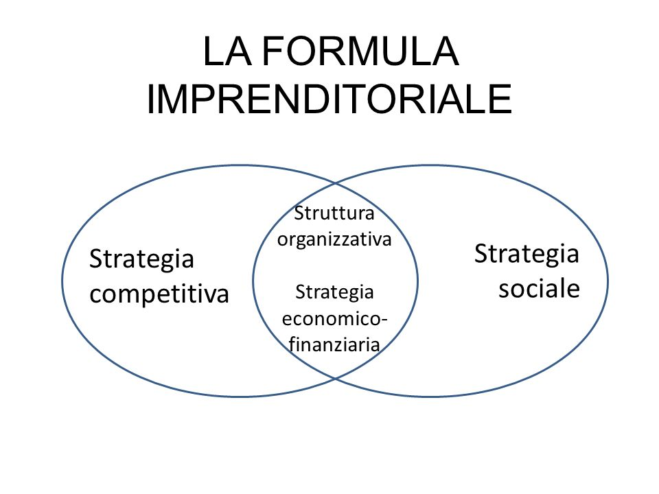 LA FORMULA IMPRENDITORIALE s Strategia competitiva Strategia sociale Struttura organizzativa Strategia economico- finanziaria