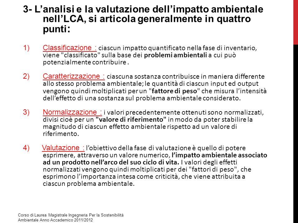 3- Lanalisi e la valutazione dellimpatto ambientale nellLCA, si articola generalmente in quattro punti : 1)Classificazione : ciascun impatto quantific