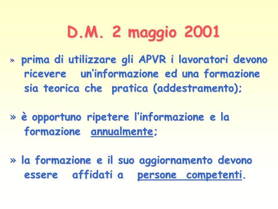 D.M. 2 maggio 2001 D.M. 2 maggio 2001 » prima di utilizzare gli APVR i lavoratori devono ricevere uninformazione ed una formazione ricevere uninformaz