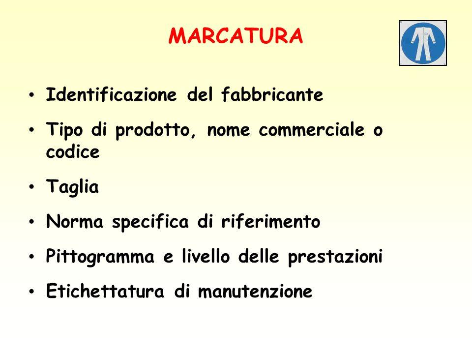 MARCATURA Identificazione del fabbricante Tipo di prodotto, nome commerciale o codice Taglia Norma specifica di riferimento Pittogramma e livello dell