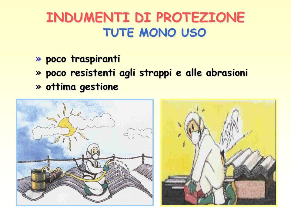INDUMENTIDI PROTEZIONE INDUMENTI DI PROTEZIONE TUTE MONO USO » poco traspiranti » poco resistenti agli strappi e alle abrasioni » ottima gestione