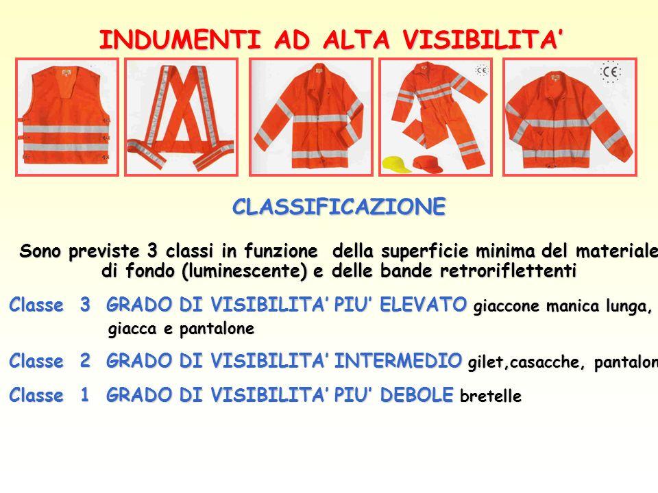 INDUMENTI AD ALTA VISIBILITA CLASSIFICAZIONE Sono previste 3 classi in funzione della superficie minima del materiale di fondo (luminescente) e delle