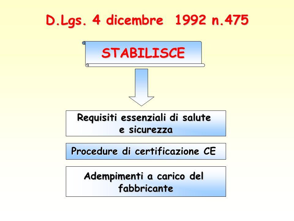 D.Lgs. 4 dicembre 1992 n.475 STABILISCE Requisiti essenziali di salute e sicurezza Procedure di certificazione CE Adempimenti a carico del fabbricante