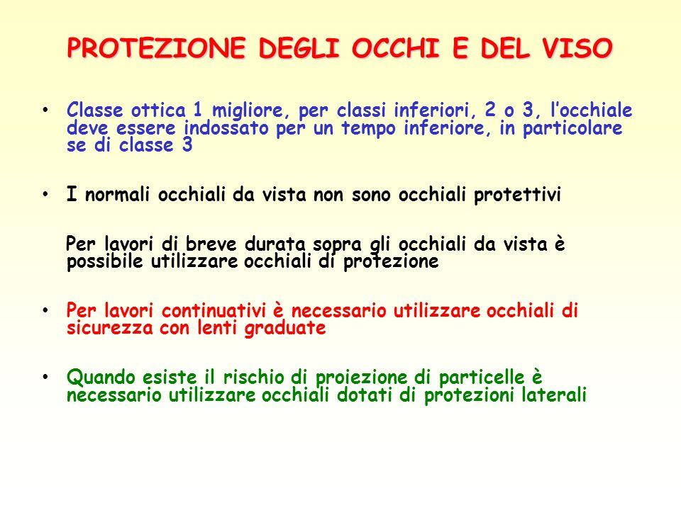 PROTEZIONE DEGLI OCCHI E DEL VISO Classe ottica 1 migliore, per classi inferiori, 2 o 3, locchiale deve essere indossato per un tempo inferiore, in pa