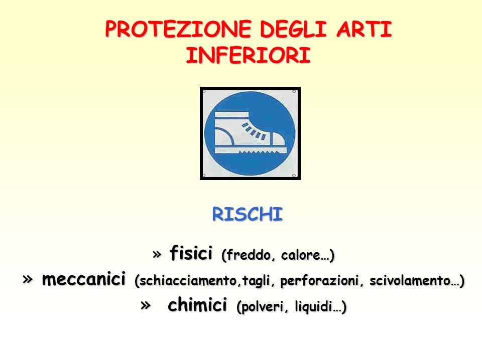PROTEZIONE DEGLI ARTI INFERIORI RISCHI RISCHI » fisici (freddo, calore…) » meccanici (schiacciamento,tagli, perforazioni, scivolamento…) » meccanici (