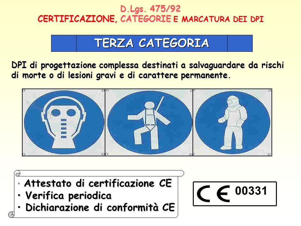 D.Lgs. 475/92 CERTIFICAZIONE, CATEGORIE E MARCATURA DEI DPI TERZA CATEGORIA DPI di progettazione complessa destinati a salvaguardare da rischi di mort