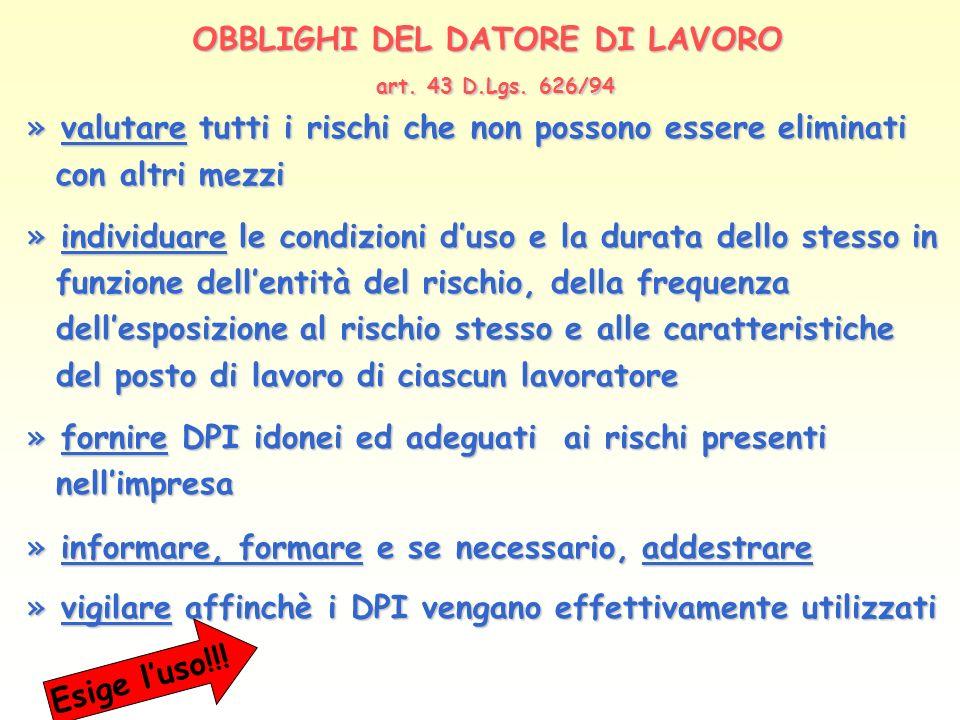 OBBLIGHI DEL DATORE DI LAVORO art. 43 D.Lgs. 626/94 » valutare tutti i rischi che non possono essere eliminati con altri mezzi con altri mezzi » indiv