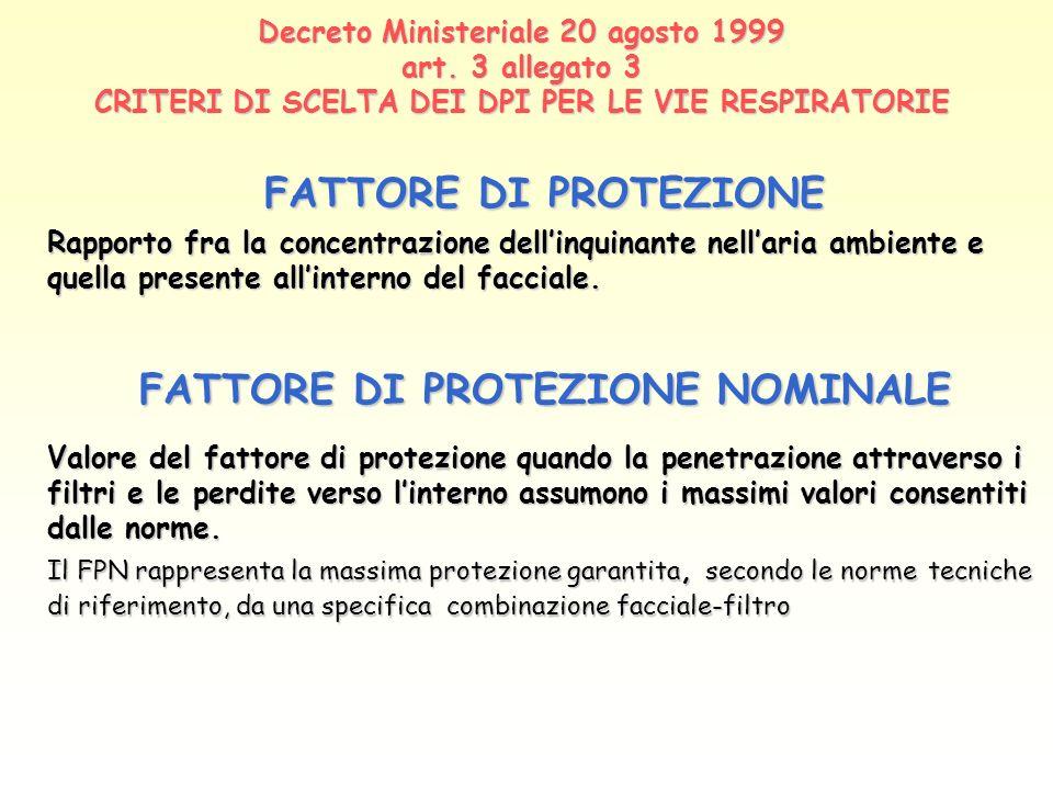 Decreto Ministeriale 20 agosto 1999 art. 3 allegato 3 CRITERI DI SCELTA DEI DPI PER LE VIE RESPIRATORIE FATTORE DI PROTEZIONE Rapporto fra la concentr
