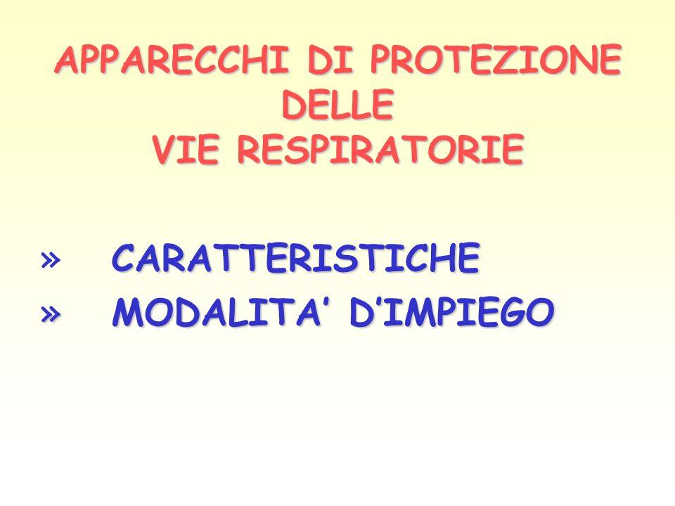APPARECCHI DI PROTEZIONE DELLE VIE RESPIRATORIE CARATTERISTICHE » CARATTERISTICHE » MODALITA DIMPIEGO