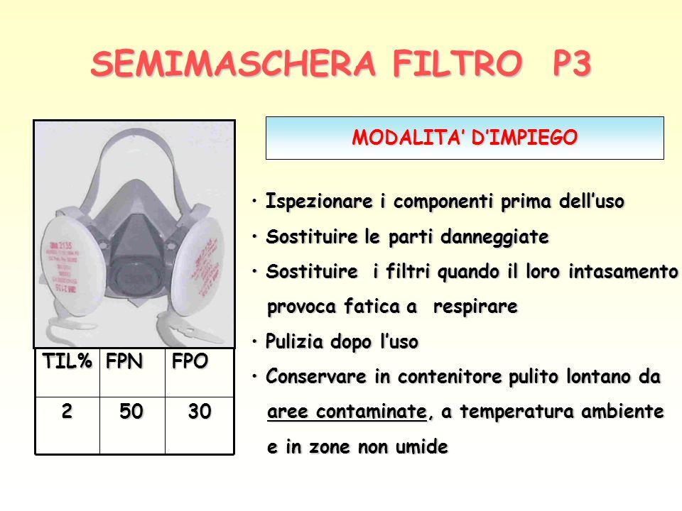 SEMIMASCHERA FILTRO P3 30502FPOFPNTIL% MODALITA DIMPIEGO Ispezionare i componenti prima delluso Sostituire le parti danneggiate Sostituire le parti da