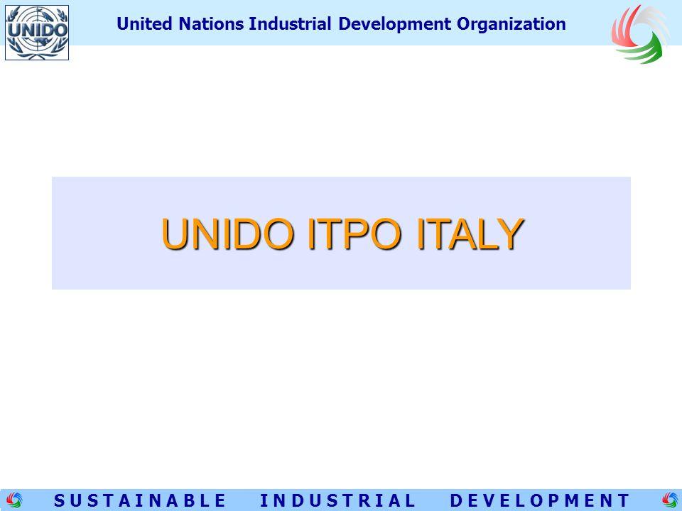 1 S U S T A I N A B L E I N D U S T R I A L D E V E L O P M E N T United Nations Industrial Development Organization UNIDO ITPO ITALY