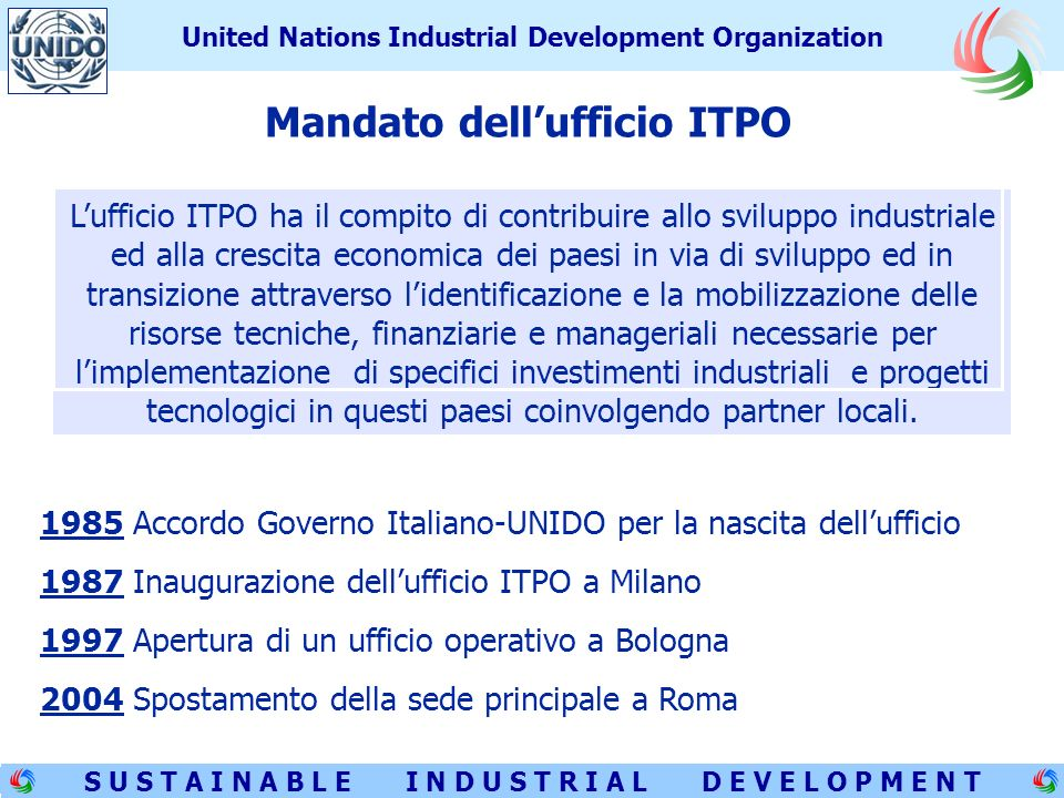 2 S U S T A I N A B L E I N D U S T R I A L D E V E L O P M E N T United Nations Industrial Development Organization UNIDO: United Nations Industrial