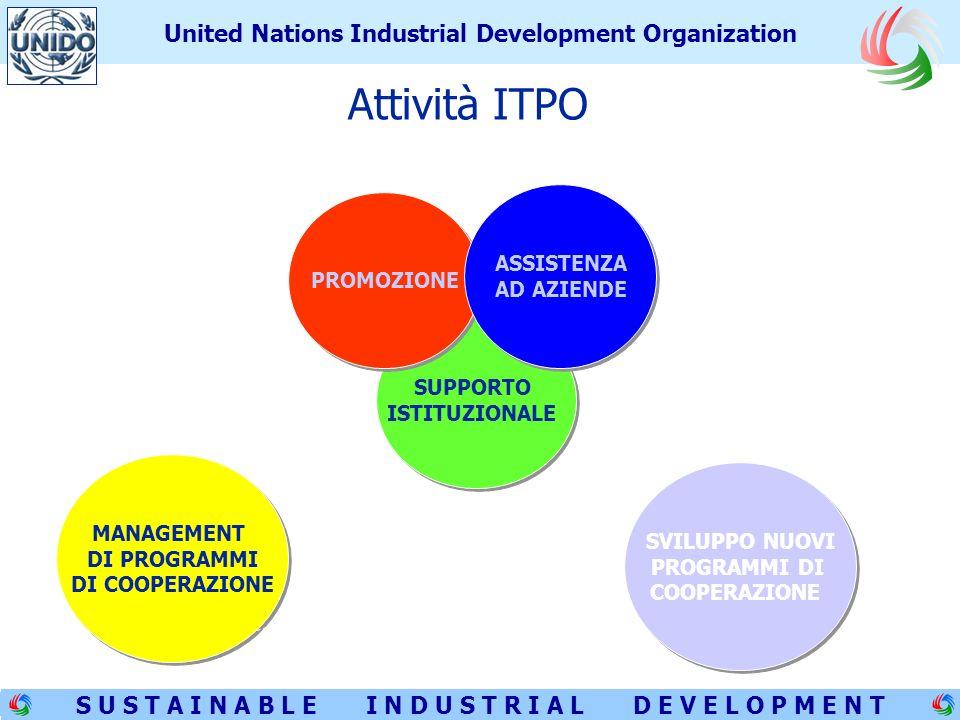 4 S U S T A I N A B L E I N D U S T R I A L D E V E L O P M E N T United Nations Industrial Development Organization SUPPORTO ISTITUZIONALE SUPPORTO ISTITUZIONALE PROMOZIONE ASSISTENZA AD AZIENDE ASSISTENZA AD AZIENDE MANAGEMENT DI PROGRAMMI DI COOPERAZIONE MANAGEMENT DI PROGRAMMI DI COOPERAZIONE SVILUPPO NUOVI PROGRAMMI DI COOPERAZIONE SVILUPPO NUOVI PROGRAMMI DI COOPERAZIONE Attività ITPO