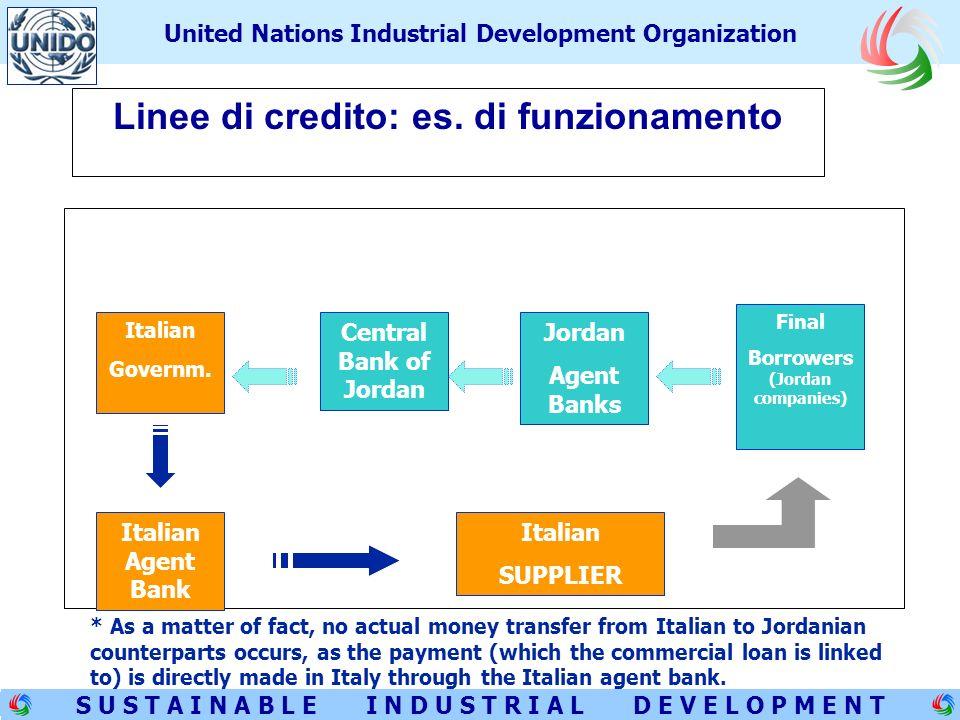 8 S U S T A I N A B L E I N D U S T R I A L D E V E L O P M E N T United Nations Industrial Development Organization Linee di credito: es.