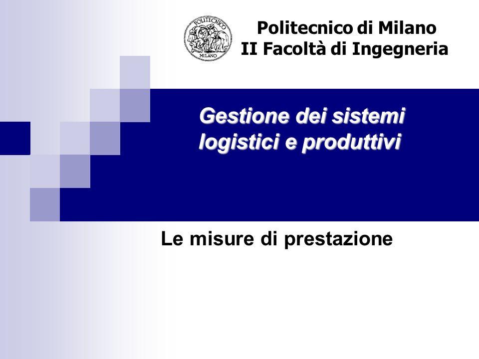Gestione dei sistemi logistici e produttivi Politecnico di Milano II Facoltà di Ingegneria Le misure di prestazione