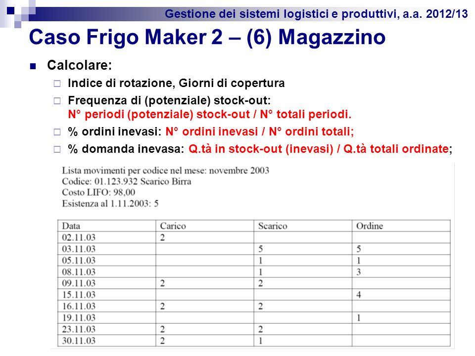 Gestione dei sistemi logistici e produttivi, a.a. 2012/13 Caso Frigo Maker 2 – (6) Magazzino Calcolare: Indice di rotazione, Giorni di copertura Frequ