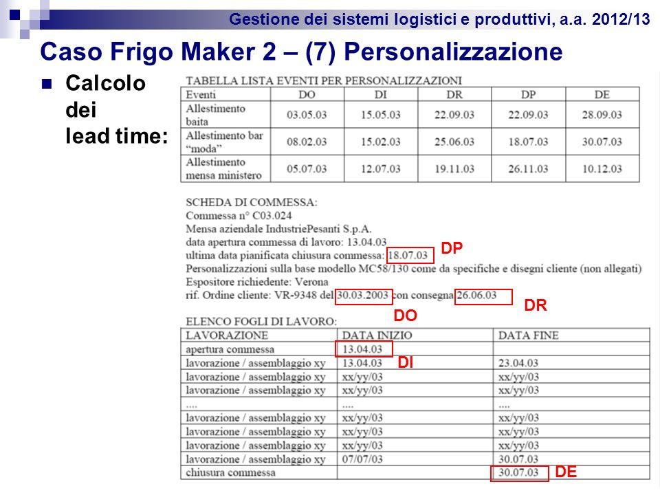 Gestione dei sistemi logistici e produttivi, a.a. 2012/13 Caso Frigo Maker 2 – (7) Personalizzazione Calcolo dei lead time: 40 DP DR DO DI DE