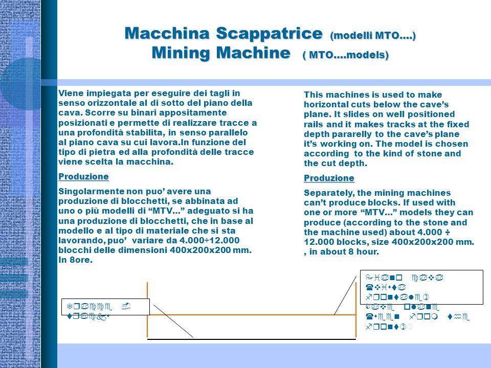 Macchina Scappatrice (modelli MTO….) Mining Machine ( MTO….models) Viene impiegata per eseguire dei tagli in senso orizzontale al di sotto del piano della cava.