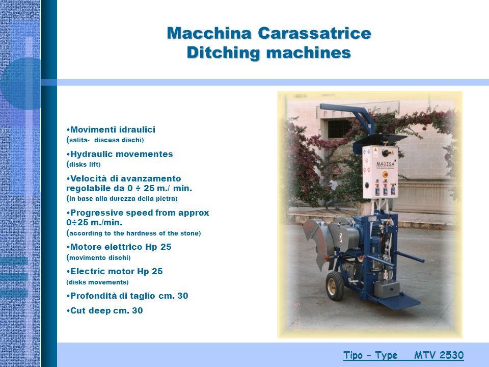 Macchina Carassatrice Ditching machines Tipo – Type MTV 2530 Movimenti idraulici ( salita- discesa dischi) Hydraulic movementes ( disks lift) Velocità di avanzamento regolabile da 0 ÷ 25 m./ min.