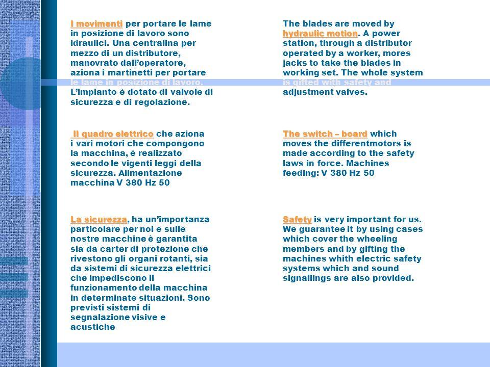 I movimenti I movimenti per portare le lame in posizione di lavoro sono idraulici.